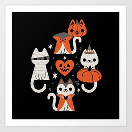 Halloween Kitties (Black) Art Print