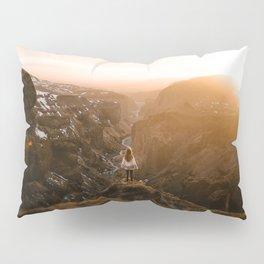 Golden hour above an icelandic canyon Pillow Sham