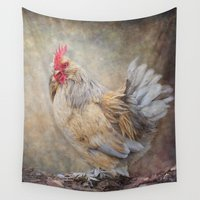 rooster Wall Tapestries featuring Little Rooster by Pauline Fowler ( Polly470 )