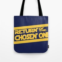 lebron Tote Bags featuring Return of the Chosen One by JohnLucke