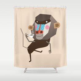 Baboon & Coffee Shower Curtain