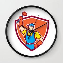 Plumber Holding Plunger Up Shield Cartoon Wall Clock
