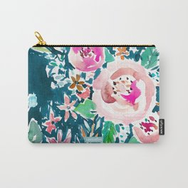 PLENITUDE FLORAL Navy Peach Watercolor Carry-All Pouch