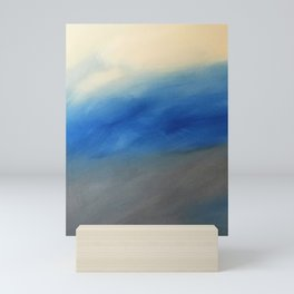 Skyline Ocean Beach Summer Original Painting by Jodi Tomer Blue Gray Mini Art Print