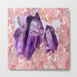 PURPLE AMETHYST & PINK CRYSTALS DESIGN Metal Print