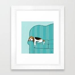 Happy Couch Beagle | Cute Sleeping Dog Framed Art Print