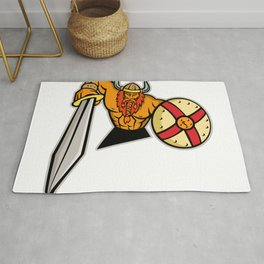 Viking Warrior Sword and Shield Mascot Rug