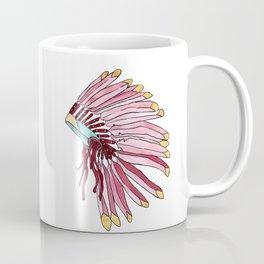Indian head dress pink and red art print Coffee Mug