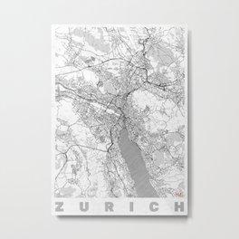 Zurich Map Line Metal Print