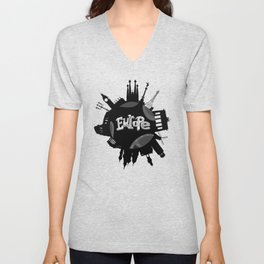 Europe World with Significant Buildings Unisex V-Neck