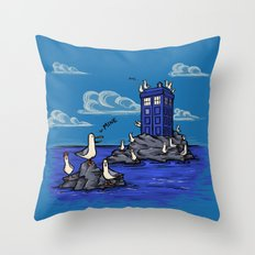 The Seagulls have the Phonebox Throw Pillow