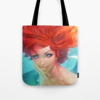 artgerm Tote Bags featuring Under The Sea by Artgerm™