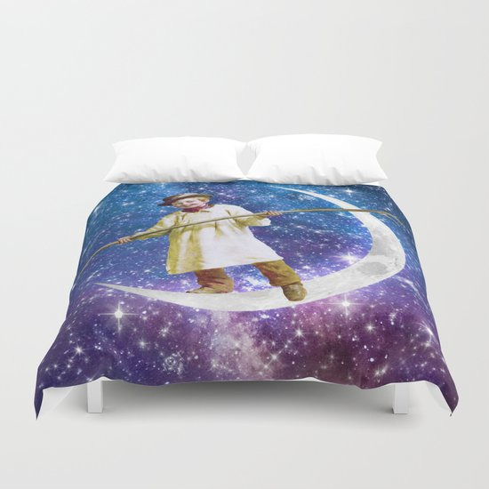 Playing on the Moon 1 Duvet Cover