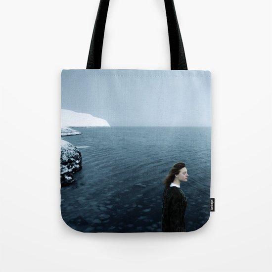 Girl ocean ice mountain Tote Bag