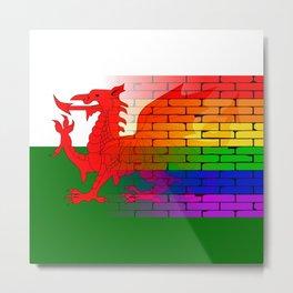 Gay Rainbow Wall Wales Flag Metal Print