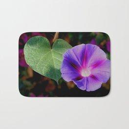 Beautiful Single Morning Glory Flower and Leaf Bath Mat