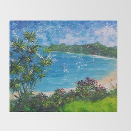 Sunny Bay - I love New Zealand Summers Throw Blanket
