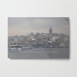 Galata tower, Karaköy, Istanbul - view across Golden Horn of the Bosphorus Metal Print