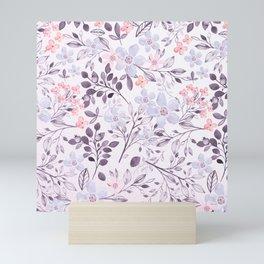 Hand painted modern pink lavender watercolor floral Mini Art Print