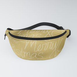 Merry christmas- christmas typography on gold pattern Fanny Pack