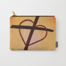 Heart Cross on Orange Carry-All Pouch
