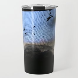 grey net blue sky folds Travel Mug