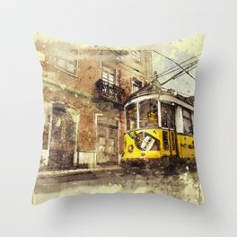 Trolly Train Car subway vintage rustic watercolor painting acrylic france europe italy amsterdam art Throw Pillow