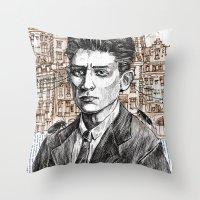kafka Throw Pillows featuring Kafka by Nina Palumbo Illustration