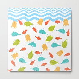 Cute Sea Life, Colorful Fishes and Waves Design Pattern, Cute Kids Art Metal Print