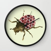 insects Wall Clocks featuring Insects by Stag Prints
