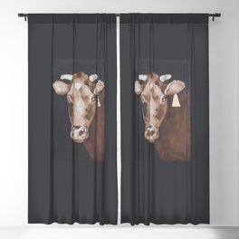 Gold Earring - Cow portrait Blackout Curtain