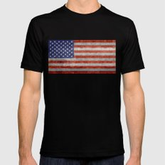 Flag of the United States of America in Retro Grunge Black Mens Fitted Tee MEDIUM