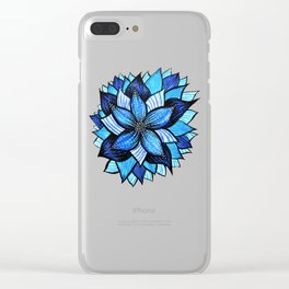 Abstract Blue Flower Ink Drawing Clear iPhone Case