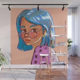 Blue hair &glasses Wall Mural