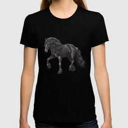 Friesian Horse Trotting In Snow T-shirt