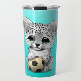 Snow leopard Cub With Football Soccer Ball Travel Mug