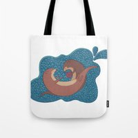 otters Tote Bags featuring Underwater Otters by Amarie