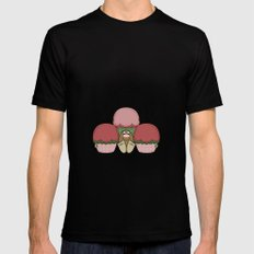 Cute Monster With Red And Green Frosted Cupcakes MEDIUM Mens Fitted Tee Black