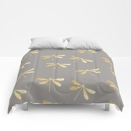 dragonfly pattern: gold & grey Comforters