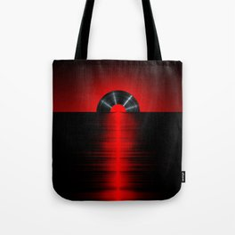 Vinyl sunset red Tote Bag