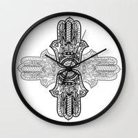 hamsa Wall Clocks featuring Hamsa by Ale L