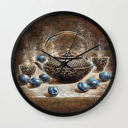 Eurika coffee and plums surreal nature morte morning painting Wall Clock