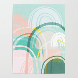 Somewhere - mint & peach Poster