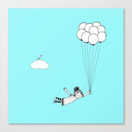 Hand Drawn Girl Flying With Balloons Canvas Print