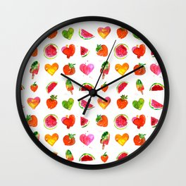 Cute colorful watercolor with hearts, watermelons, strawberries Wall Clock