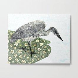 Heron and flowers Metal Print
