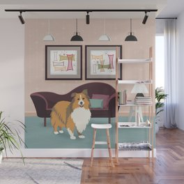 A Happy Home Has A Sheltie - Shetland Sheepdog In A Midcentury Interior Wall Mural