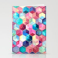 crystal Stationery Cards featuring Topaz & Ruby Crystal Honeycomb Cubes by micklyn
