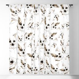 Chihuahua watercolor pattern Blackout Curtain