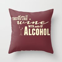 alcohol Throw Pillows featuring NOTES OF ALCOHOL by Sandhill